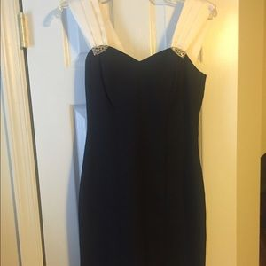 Black with white straps cocktail dress Size 4
