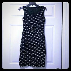 Tahari Dresses & Skirts - Tahari ASL Navy White Polkadot Dress Work Buckle