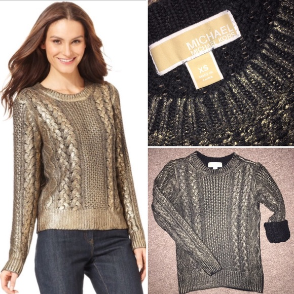 Michael Kors Metallic Cable knit sweater. M 572e6b47620ff7787900d783 d68111ee2
