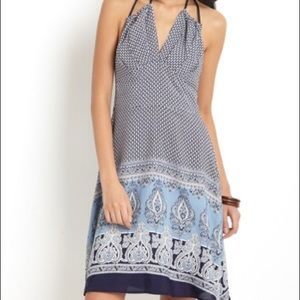 NWOT Eva Franco Indigo Halter Dress