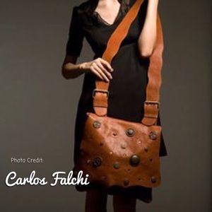 Carlos Falchi Leather Messenger Bag NWT