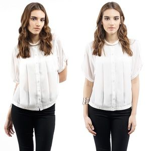 Style Link Miami Tops - ▫️SALE▫️WHITE PLEATED LOOSE FOR BLOUSE