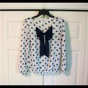 Timing Navy and White Polka Dot Blouse