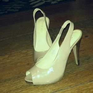 NINE West Peep Toe Slingback Heels - sz 6 Nude