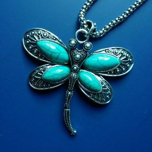 Silver Plated Big Dragonfly Turquoise Necklace