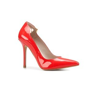 Zara Red Pointed Court Shoes