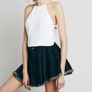Free People Flare Mini Skirt Dark Denim Blue XS