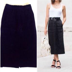 Vintage Dresses & Skirts - Vintage Black Suede Leather Midi Skirt