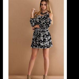 Sassy Cold shoulder black & white dress