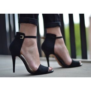 ZARA Black Basic Ankle Strap Heels