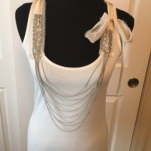 BKE Boutique off white top W/chains