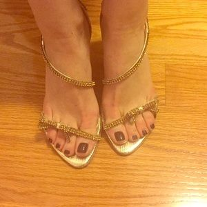 Shoes - Gold Heels with rhinestones and bow in the front