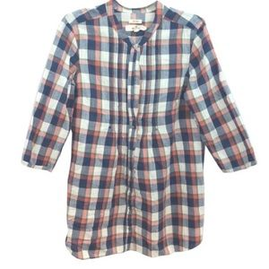 HOLLISTER PLAID COTTON TUNIC TOP BLOUSE M