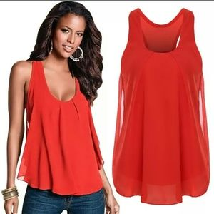 Tops - Red/Orange Chiffon Tank Top