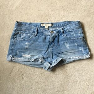 F21 Destroyed Denim Cuffed Shorts