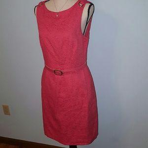 Muse Dresses & Skirts - Muse Tangerine Jacquard Sheath Dress
