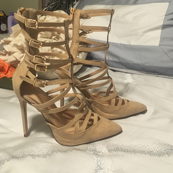 b3820b4a7c0 Lola Shoetique caged pointy nude heels