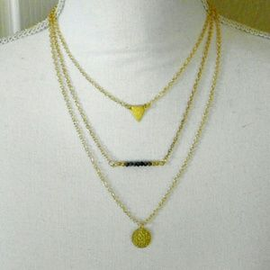 Jewelry - Three layer crystal bar necklace