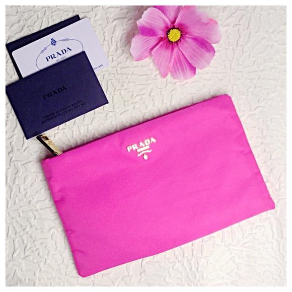 40f1ce60a0d6 Prada Bags | Sale Hot Pink Flat Cosmetic Pouch | Poshmark