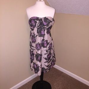 The limited strapless floral dress