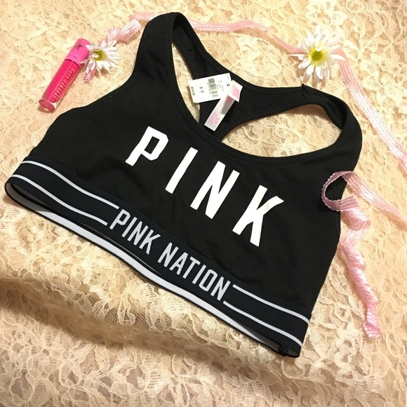 64c01393da4e5 Sale💕 black sports bra pink nation rare limited