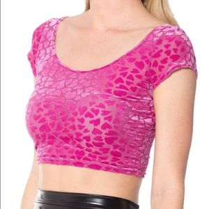 Blackmilk Tops - New Blackmilk Be Mine heart burnout crop top