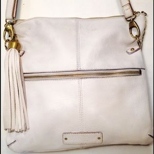 White lucky brand leather crossbody
