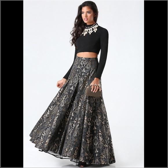 bebe Dresses   Jacquard 2piece Dress Evening Gown   Poshmark