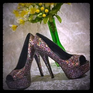 Charlotte Russe Glitter Party Heels - Size 8.5