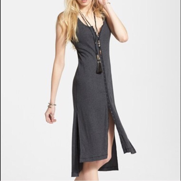 45273d22e959b Free people button down sleeveless ribbed dress