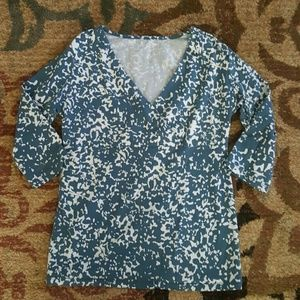 NWOT teal and white faux wrap top size XS
