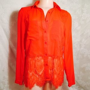 INA Tops - Stylish red orange blouse w/lace FINAL CLEARANCE