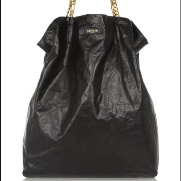 95433b63d Lanvin Bags | Authentic Leather Paper Bag Tote Black Xl | Poshmark