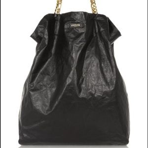 Lanvin Handbags - Authentic Lanvin leather Paper Bag Tote Black XL