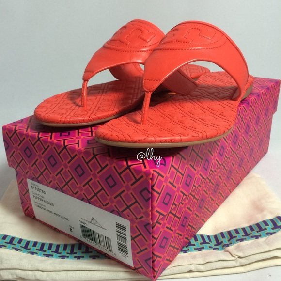 e5050117e10 TORY BURCH FLEMING FLAT THONG SANDALS – RED 8. M 572f6c46713fde5cad051567