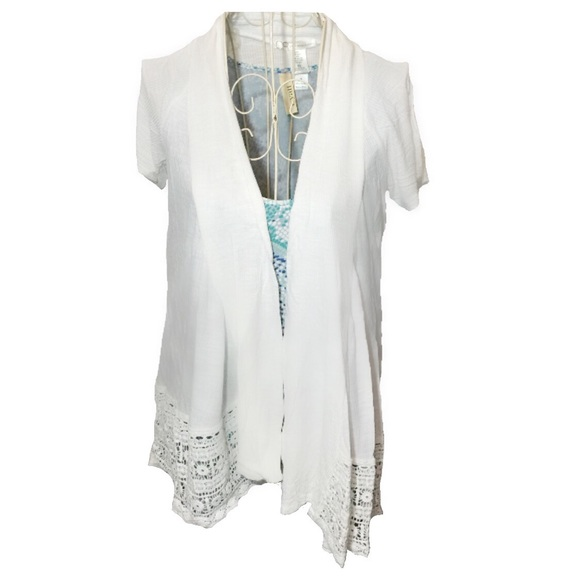 Charlotte Russe - Soft, White, Lace Short Sleeve Open Front ...