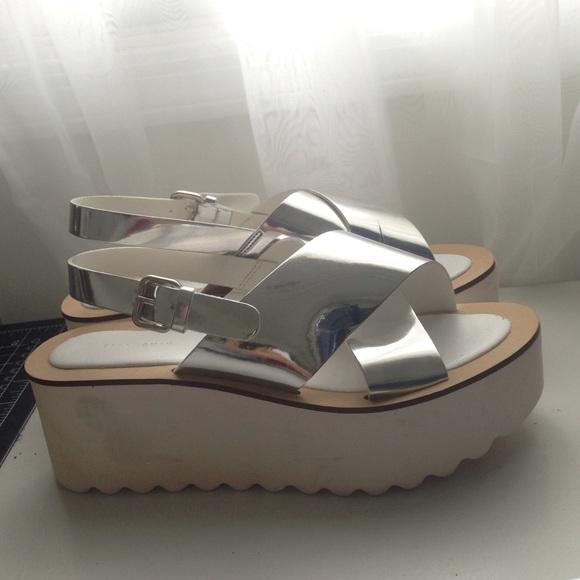 Zara Shoes | Silver Flatform Sandals
