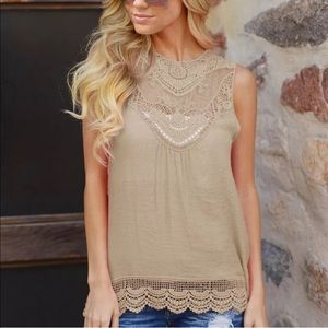 Tops - Cafe Cotton Lace Tank Tunic, Perfect!