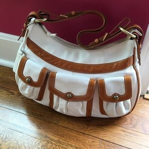 Aqua madonna Handbags - Aqua Madonna white and tan leather handbag