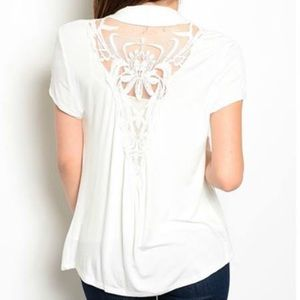 Sweaters - New White Cardigan Lace Back