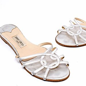 JIMMY CHOO Silver Leather Sandals Slides