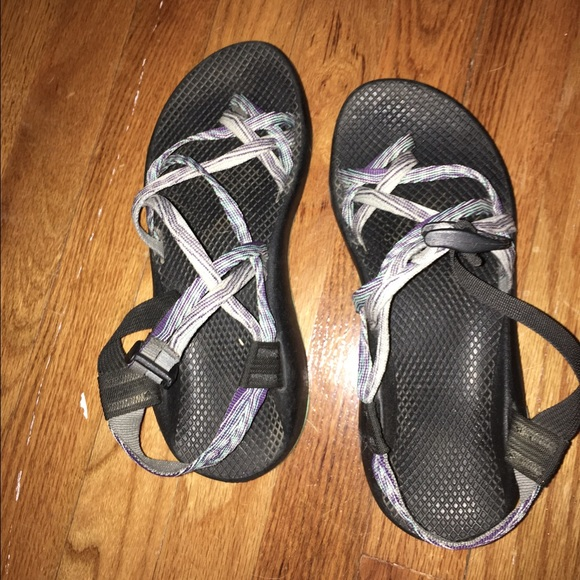 5f735df58a94 Chaco Shoes - Blue   Purple Double Strap Chacos with Toe Loop
