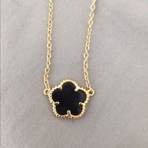 Gold black flower necklace