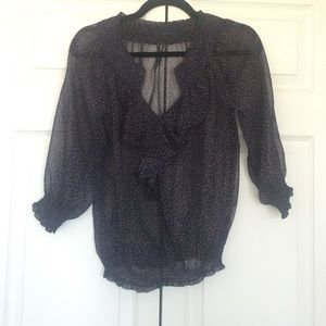 Zara Sheer Crinkle Chiffon Top