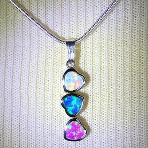 Fire Opal/Sterling Silver Jewelry - Sterling Silver Fire Opal Necklace Pink/Blue/White