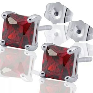 Unknown/Unbranded Jewelry - Authentic Silver/White Gold Filled Red Ruby Studs