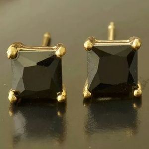 Jewelry - Brand 🆕 9k Real Gold Filled Black Square Studs