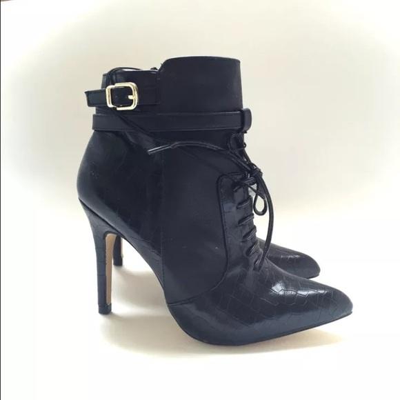 df9b637a0d1 Altuzarra Target: black faux leather croc booties