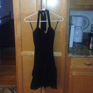 Black halter dress with ruffles