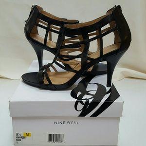 Nine West Genuine Leather Cage Sandals